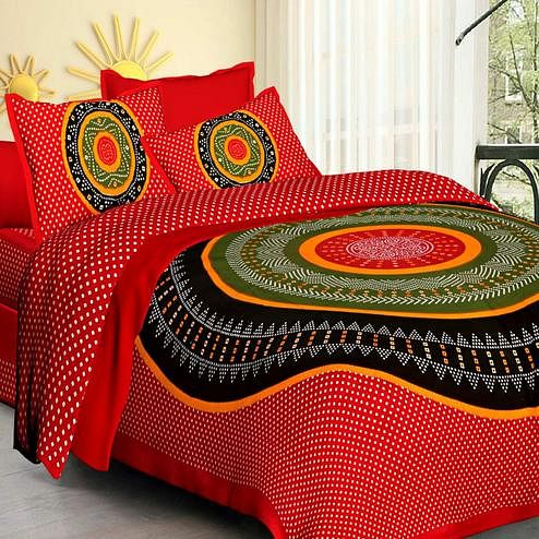 Blooming Red Colored Printed Cotton Double Bedsheet With 2 Pillow Cover