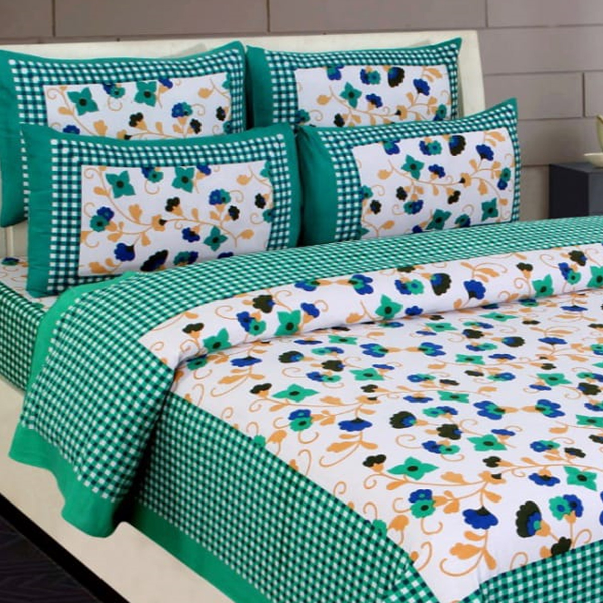 Charming Green Colored Printed Cotton Double Bedsheet With 2 Pillow Cover