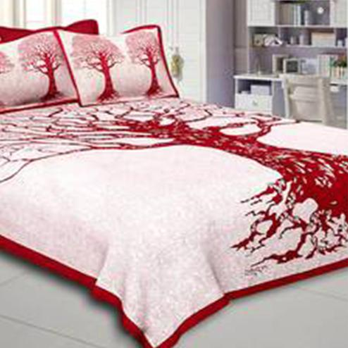 Captivating White-Red Colored Printed Cotton Double Bedsheet With 2 Pillow Cover