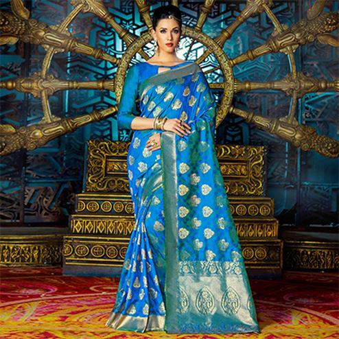 Blue Weaving Work Party Wear Saree
