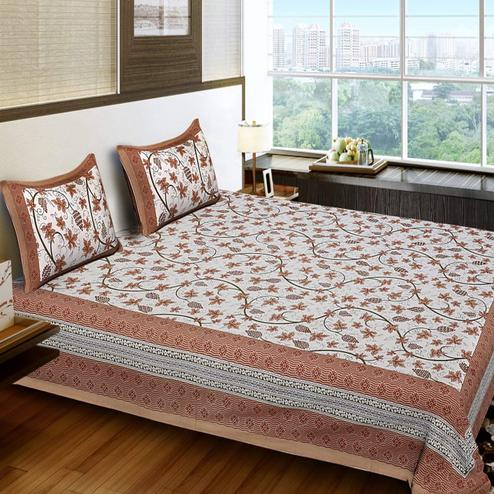 Eye-catching Brown Colored Printed Cotton King Size Bedsheet With 2 Pillow Cover