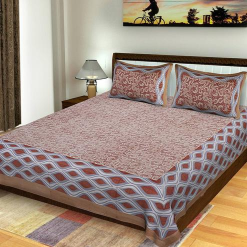 Gorgeous Brown Colored Printed Cotton King Size Bedsheet With 2 Pillow Cover