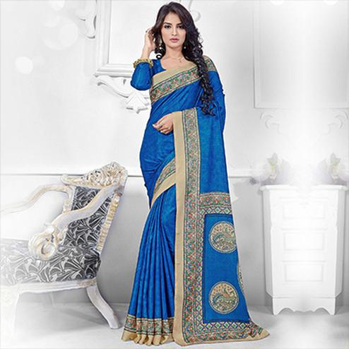 Cobalt Blue Casual Wear Saree