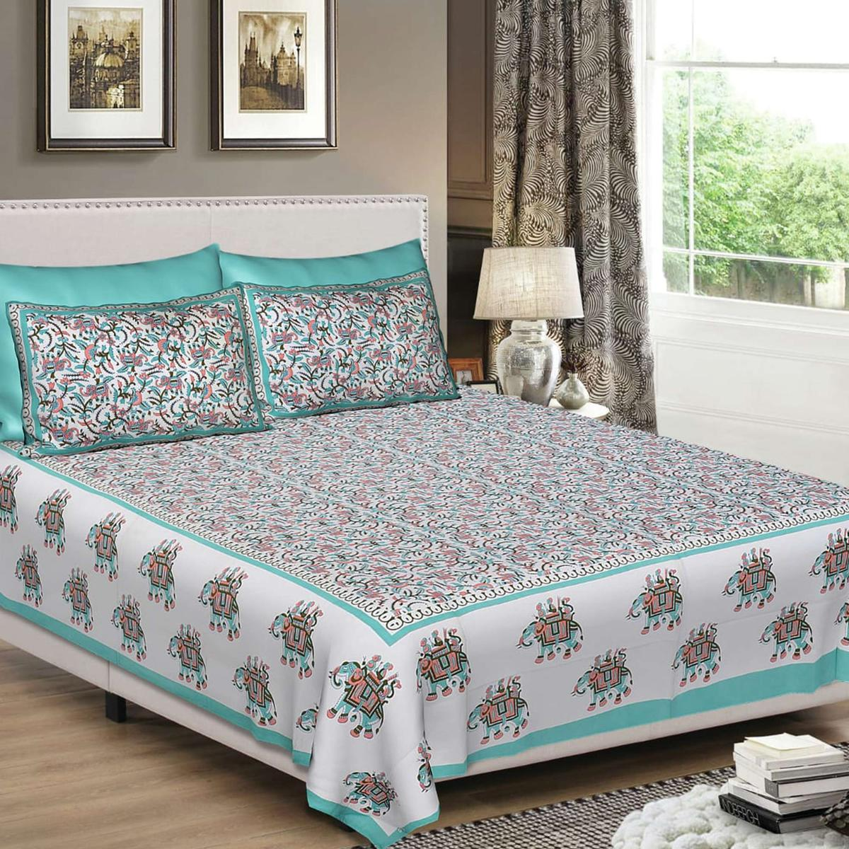 Breathtaking Green-Off White Colored Printed Cotton King Size Bedsheet With 2 Pillow Cover