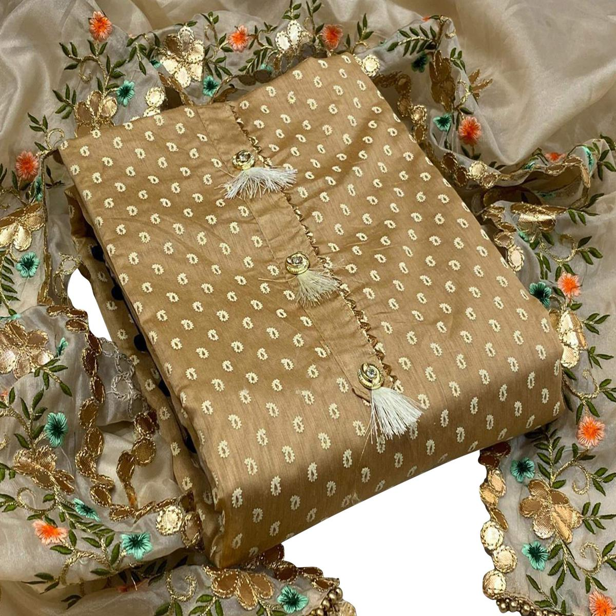 Gorgeous Light Brown Colored Party Wear Printed Chanderi Silk Dress Material