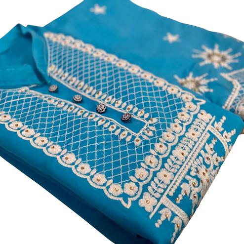 Ideal Blue Colored Party Wear Embroidered Chanderi Silk Dress Material