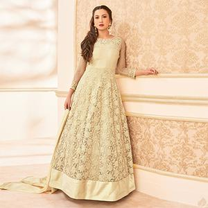 Beige Heavy Embroiderd Work Anarkali Suit