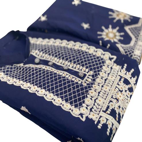 Majesty Navy Blue Colored Party Wear Embroidered Chanderi Silk Dress Material