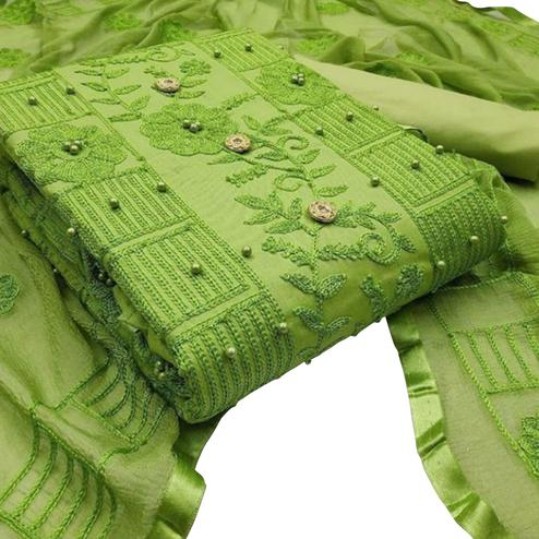 Dazzling Green Colored Party Wear Embroidered Cotton Dress Material