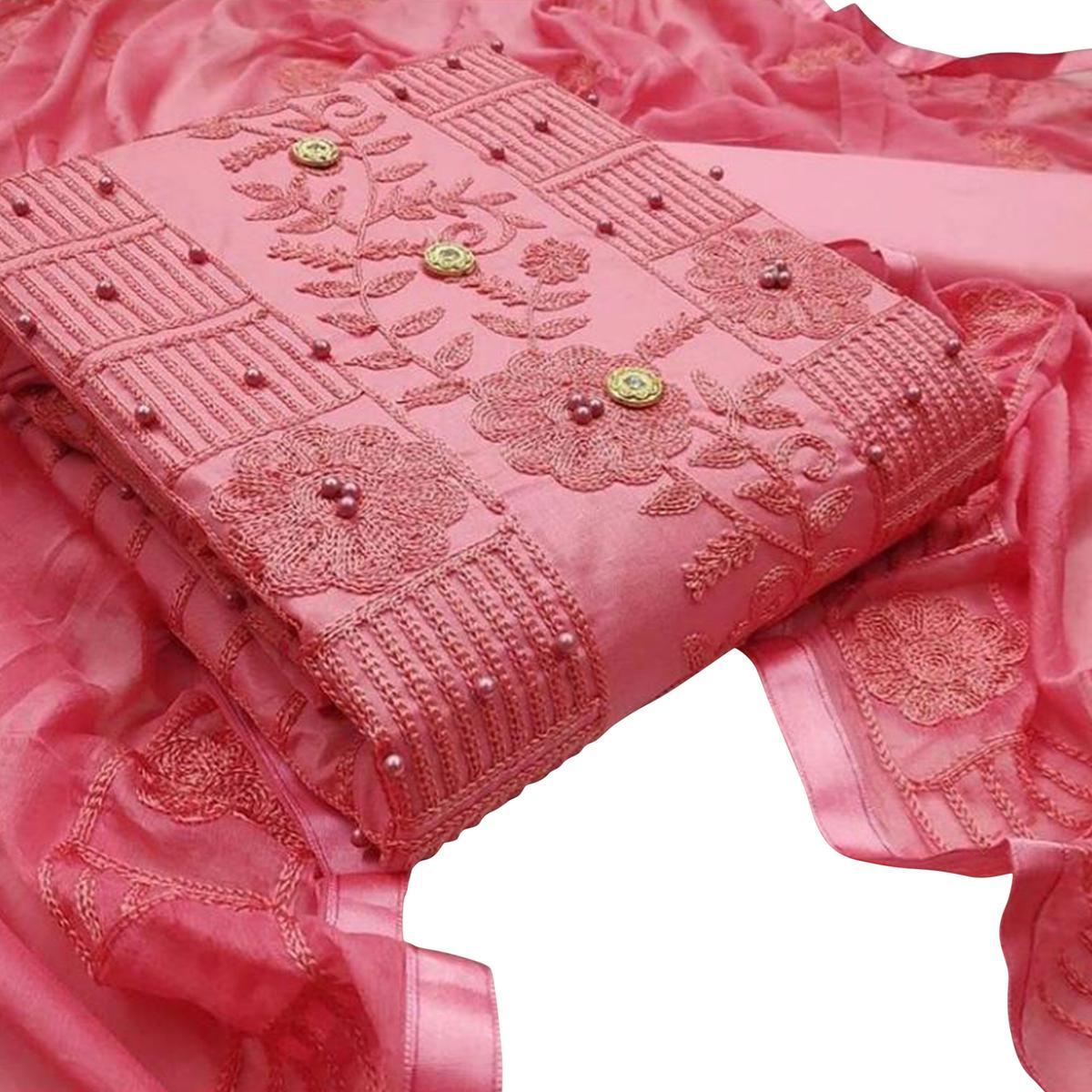 Buy Surpassing Pink Colored Party Wear Embroidered Cotton Dress Material For Women S Wear Online India Best Prices Affordable Prices Best Price Online Reviews Peachmode