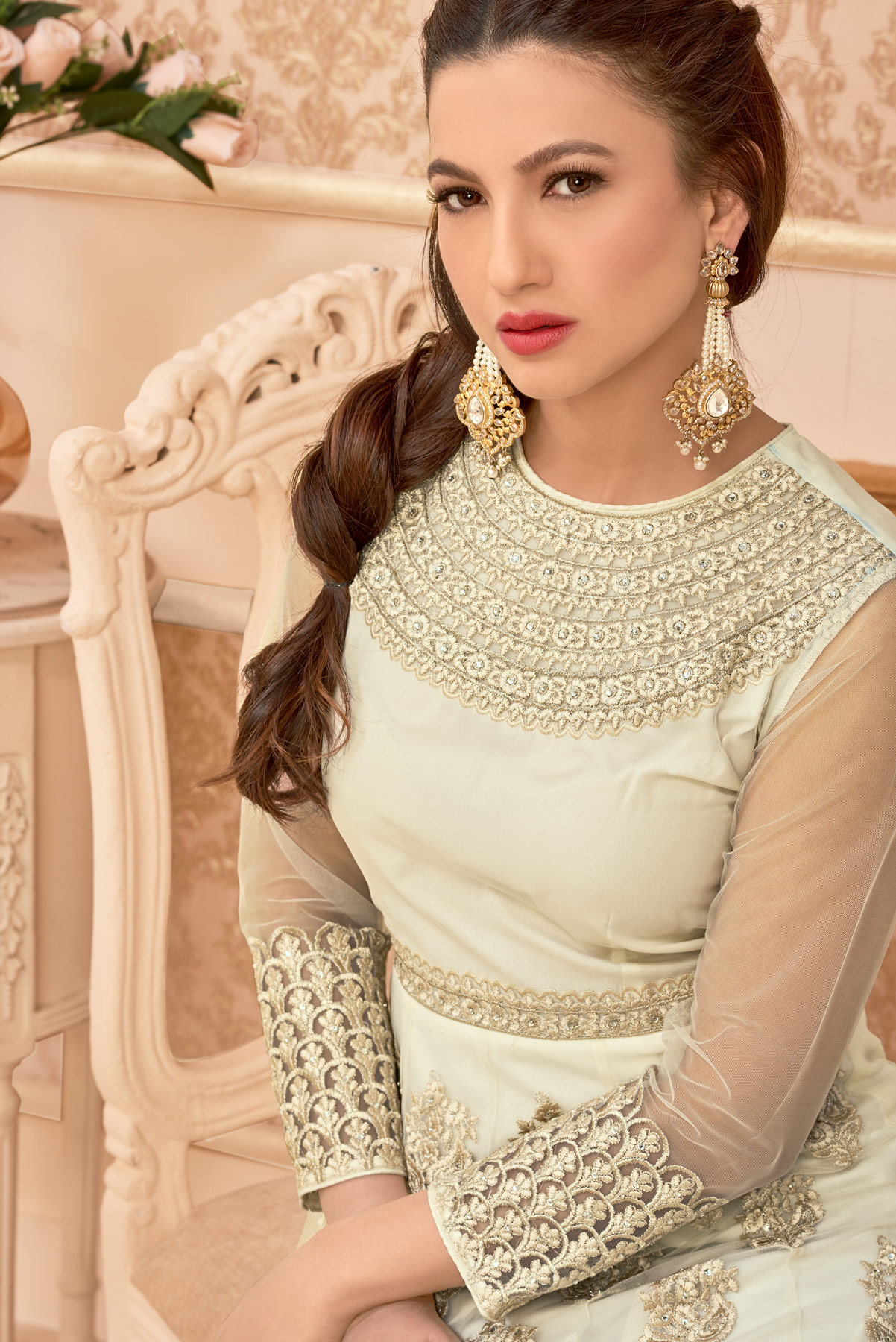 Off White Floor Length Anarkali Suit