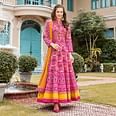 Intricate Pink Colored Partywear Patola Printed Silk Anarkali Suit