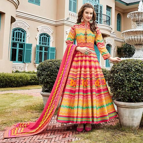 Arresting Multi Colored Partywear Patola Printed Silk Anarkali Suit