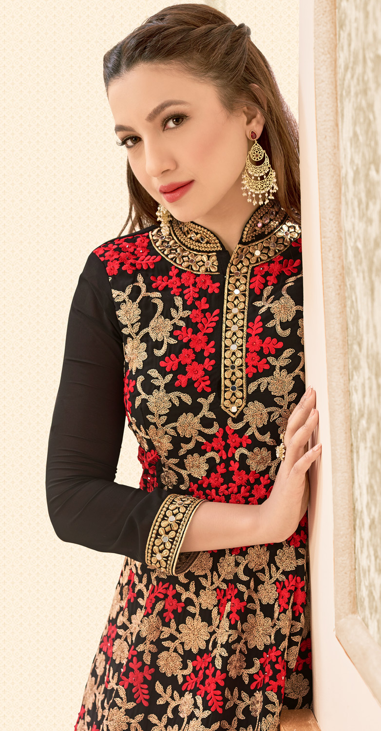 Black Floral Embroidered Work Georgette Anarkali Suit