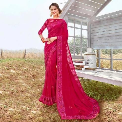 Capricious Dark Pink Colored Party Wear Embroidered Art Silk Saree