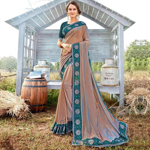 Entrancing Brown Colored Party Wear Embroidered Art Silk Saree