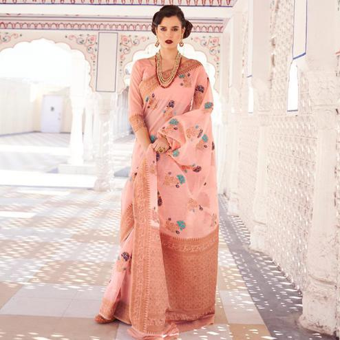 Adorable Pink Colored Festive Wear Woven Linen Saree