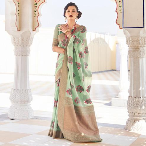 Graceful Pastel Green Colored Festive Wear Woven Linen Saree