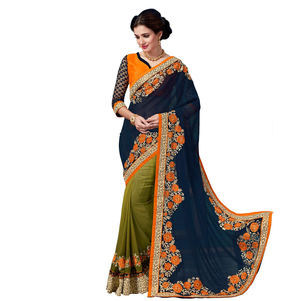 Olive Green - Navy Blue Floral Embroidered Work Half Saree