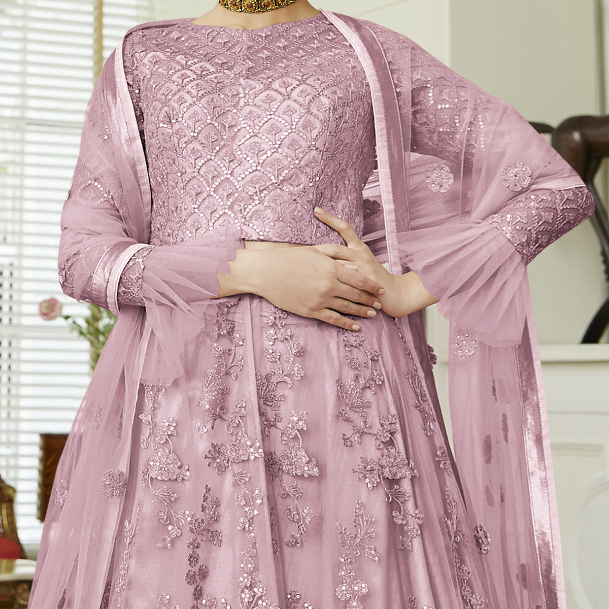 Gorgeous Light Purple Colored Party Wear Embroidered Netted Abaya Style Anarkali Suit