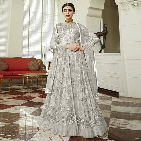Blissful Pastel Grey Colored Party Wear Embroidered Netted Abaya Style Anarkali Suit
