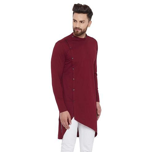 Chill Winston Capricious Maroon Colored Festive Wear Solid Asymmetric Cotton Kurta