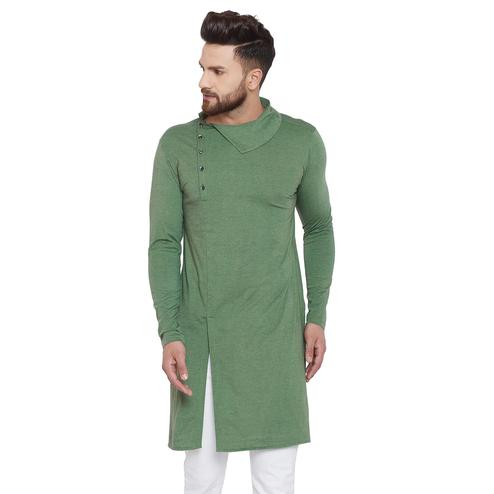 Chill Winston Delightful Olive Green Colored Festive Wear Solid Frontslit Cotton Kurta