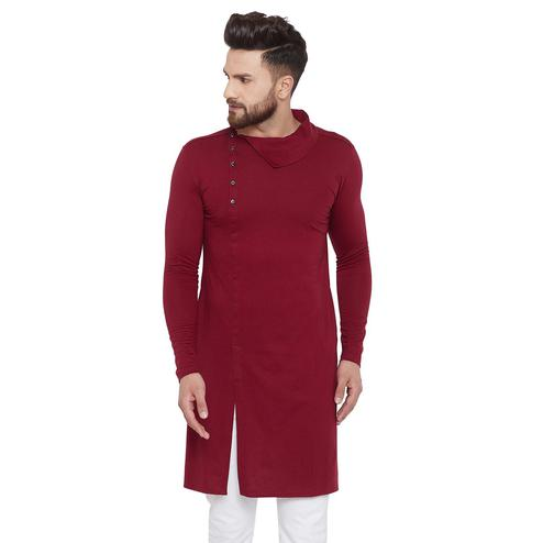 Chill Winston Eye-catching Maroon Colored Festive Wear Solid Frontslit Cotton Kurta