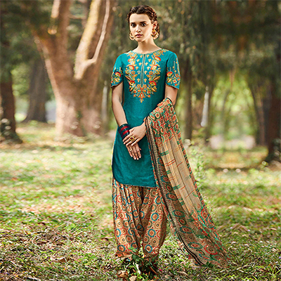 Teal Blue - Beige Embroidered Cotton Satin Patiala Suit