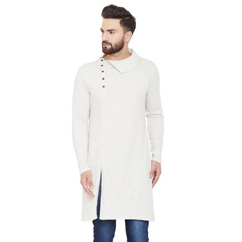 Chill Winston Energetic Off White Colored Festive Wear Solid Frontslit Cotton Kurta