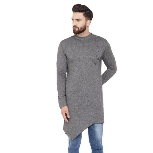 Chill Winston Energetic Grey Colored Party Wear Solid Asymmetric Cotton Kurta