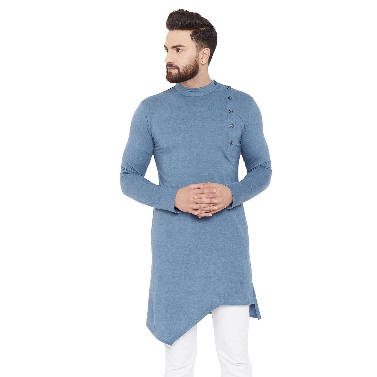 Chill Winston Glowing Blue Colored Party Wear Solid Asymmetric Cotton Kurta