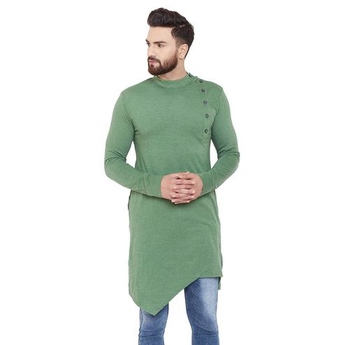 Chill Winston Exceptional Olive Green Colored Party Wear Solid Asymmetric Cotton Kurta