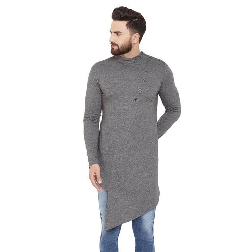 Chill Winston Refreshing Grey Colored Party Wear Solid Asymmetric Cotton Kurta