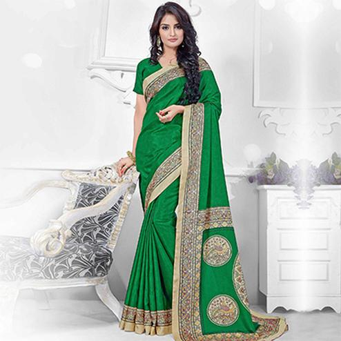 Green Manipuri Silk Printed Saree