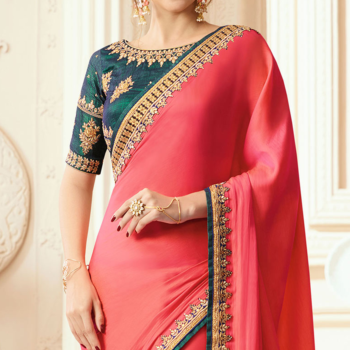 Dark Pink Border Work Saree with Pine Green Blouse