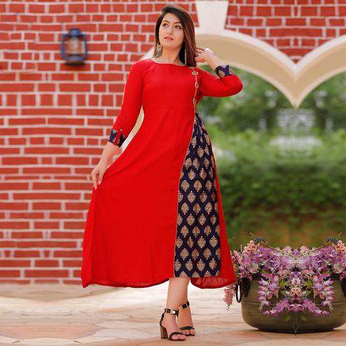 Amazing Red Colored Party Wear Gold Printed Rayon Kurti