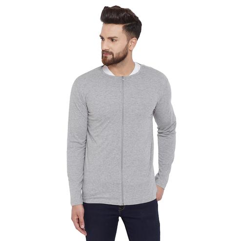 Chill Winston Exceptional Grey Colored Casual Wear Cotton Blend Zipper T-Shirt