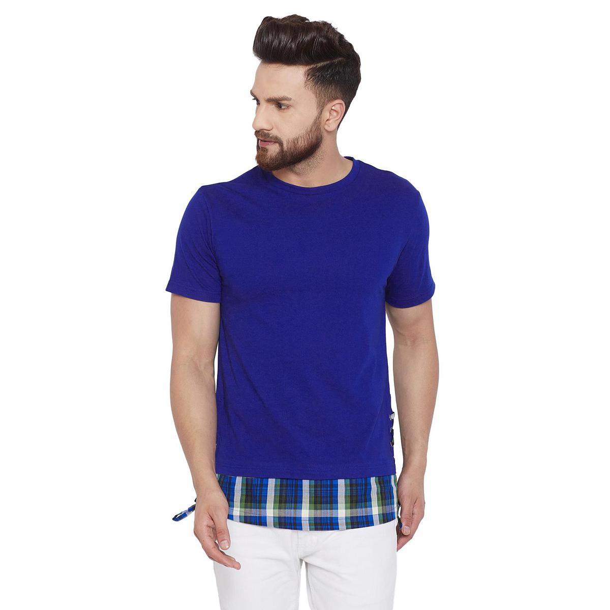 Chill Winston Appealing Blue Colored Casual Wear Cotton Blend Longline T-Shirt With Contrast Hem