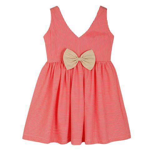PWN Gleaming Pink Colored Casual Wear Stripe Printed Lycra Frock