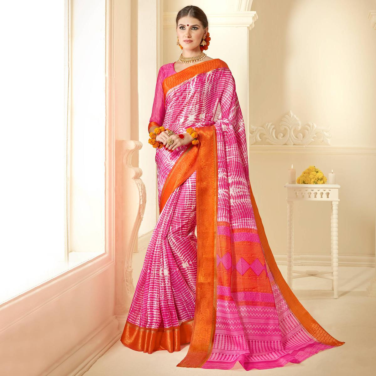Pink - Orange Printed Kota Silk Saree