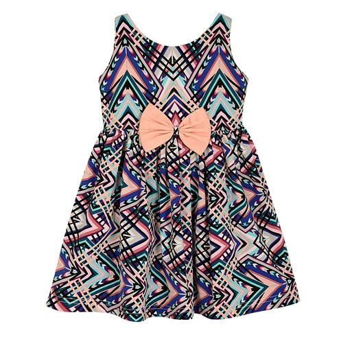 PWN Refreshing Multi Colored Casual Wear Geometric Printed Lycra Frock