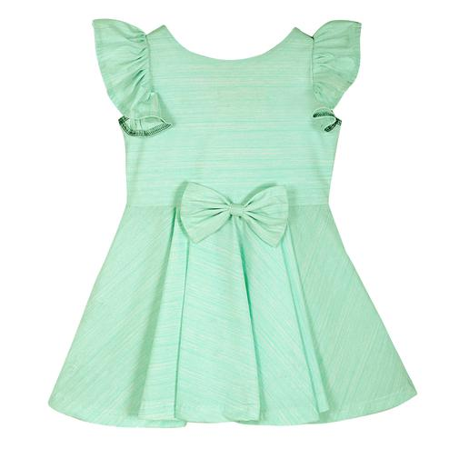 PWN Preferable Turquoise Green Colored Casual Wear Frill Sleeves Lycra Frock