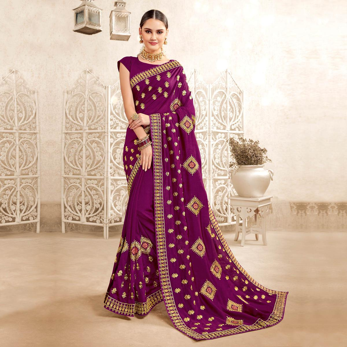 Opulent Dark Purple Colored Party Wear Embroidered Georgette-Art Silk Saree