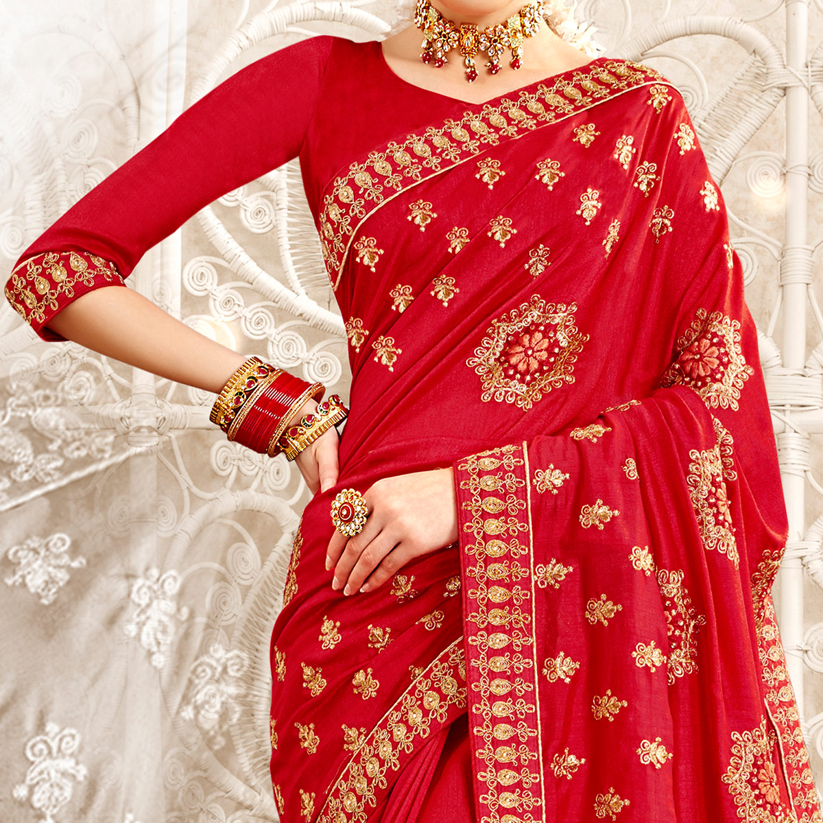 Energetic Red Colored Party Wear Embroidered Georgette-Art Silk Saree