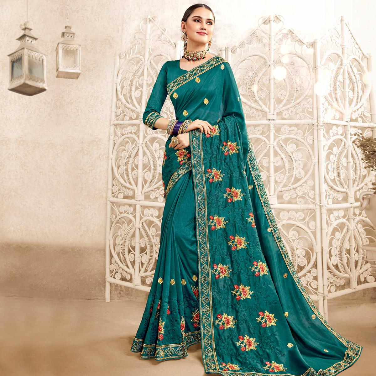Glowing Teal Blue Colored Party Wear Embroidered Georgette-Art Silk Saree