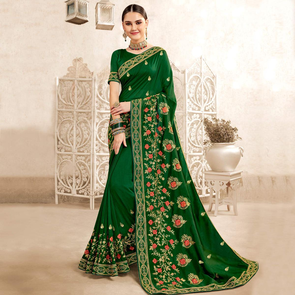 Exceptional Dark Green Colored Party Wear Embroidered Georgette-Art Silk Saree