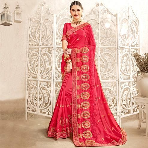 Mesmeric Pink Colored Party Wear Embroidered Georgette-Art Silk Saree