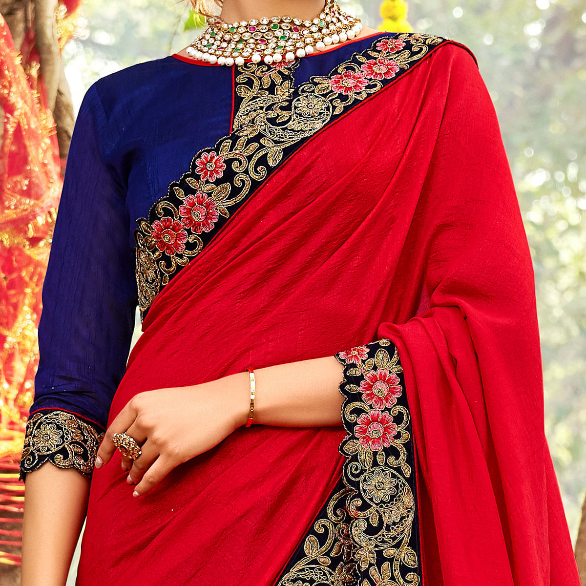 Delightful Red-Blue Colored Party Wear Embroidered Half & Half Art Silk Saree