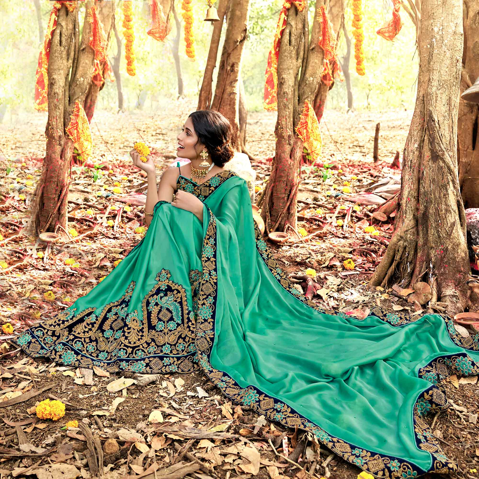 Engrossing Turquoise Green Colored Party Wear Embroidered Art Silk Saree